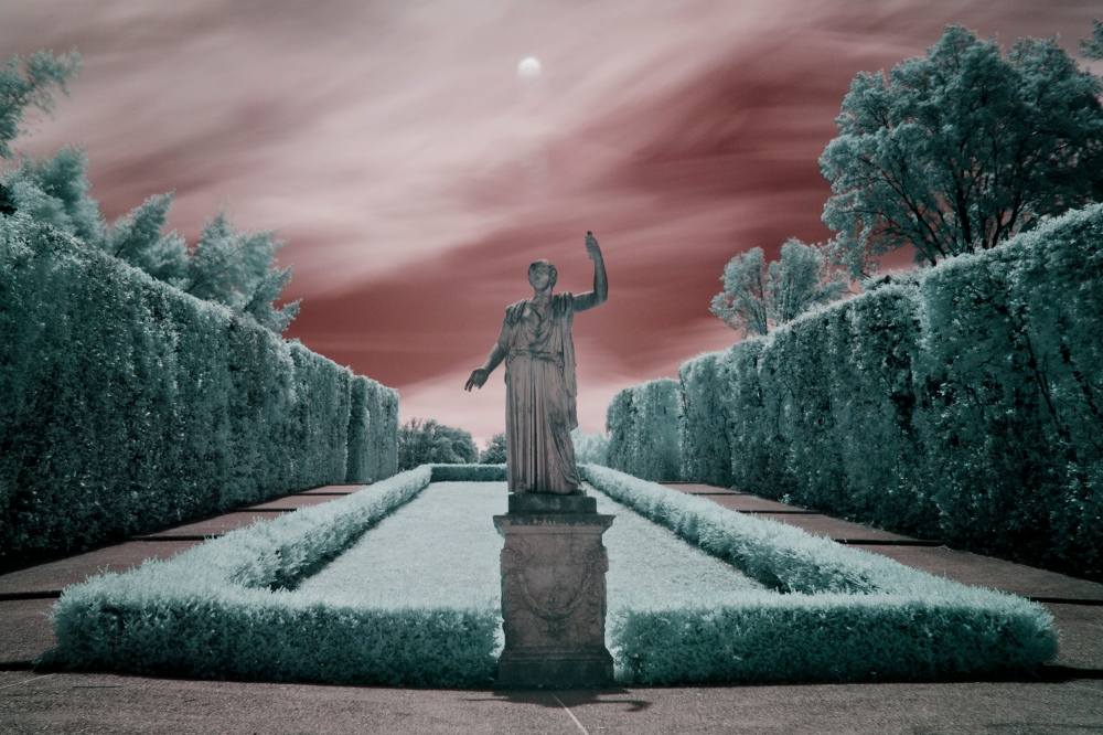 Infrared image of the center courtyard at Pitti Palace in Florence, Italy by Nick Arnold