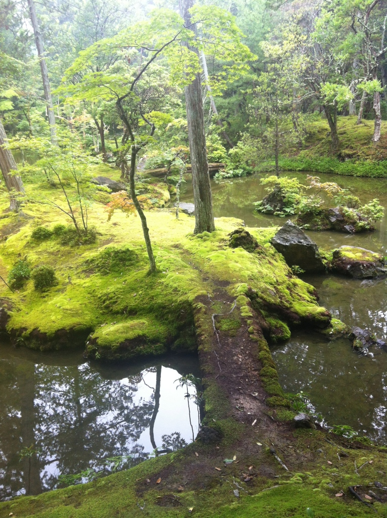 Moss covered island at Koka-dera in Kyoto, Japan by Cameron Carson