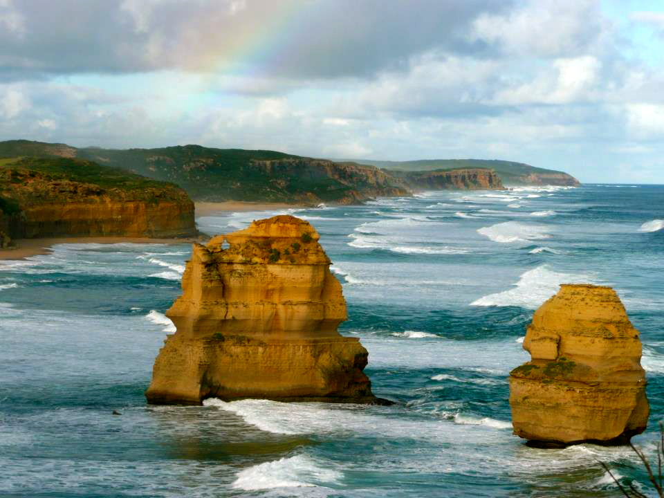 Rainbow over the Twelve Apostles in Victoria, Australia by Kevin Tamer