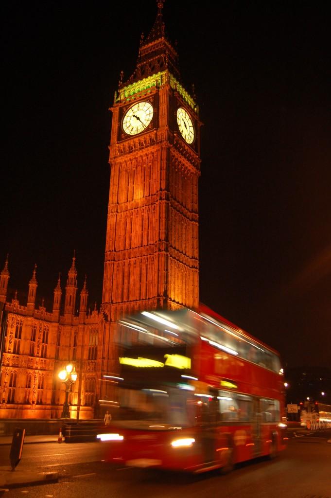 Night bus in London, England by Ashlee Walker