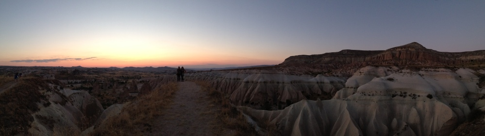 Watching the sunset from Mount Aktepe over the Taurus Mountains in Goreme, Turkey by Travis Wendt