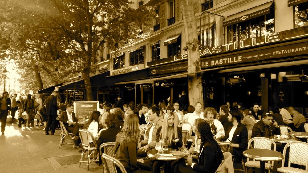 Le Bastille Cafe in Paris, France by Jeanemarie Polanco