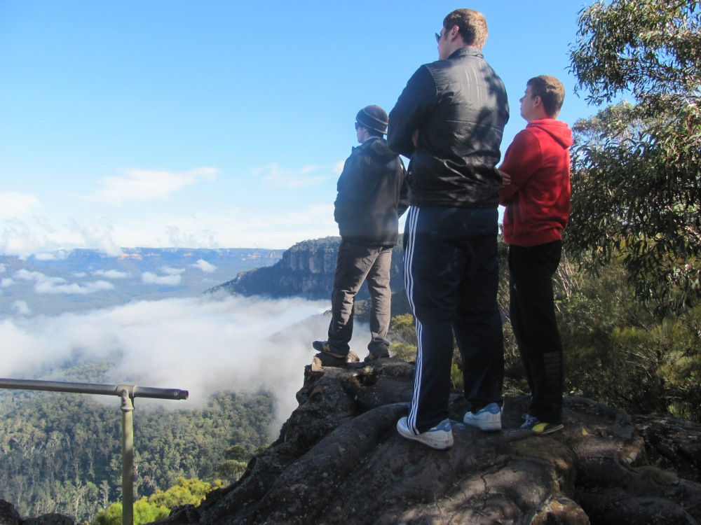 Standing upon clouds at Wentworth Falls in the Blue Mountains outside Sydney, Australia by Jared Sklar
