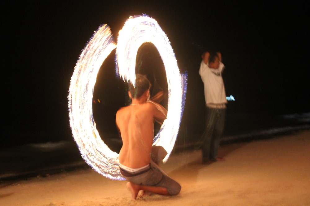 Fire dance performance in Turtle Island Beach, Thailand by James Meilinger