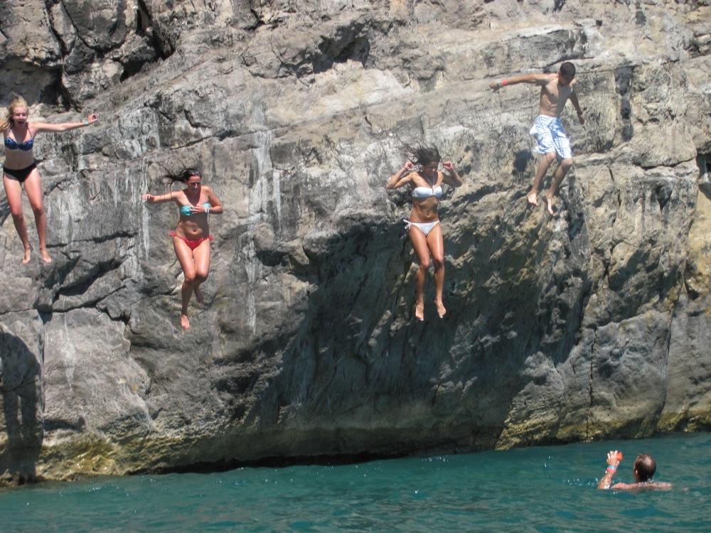 Cliff Diving, Positano, Italy Tyrrhenian Sea by Denise Negrea