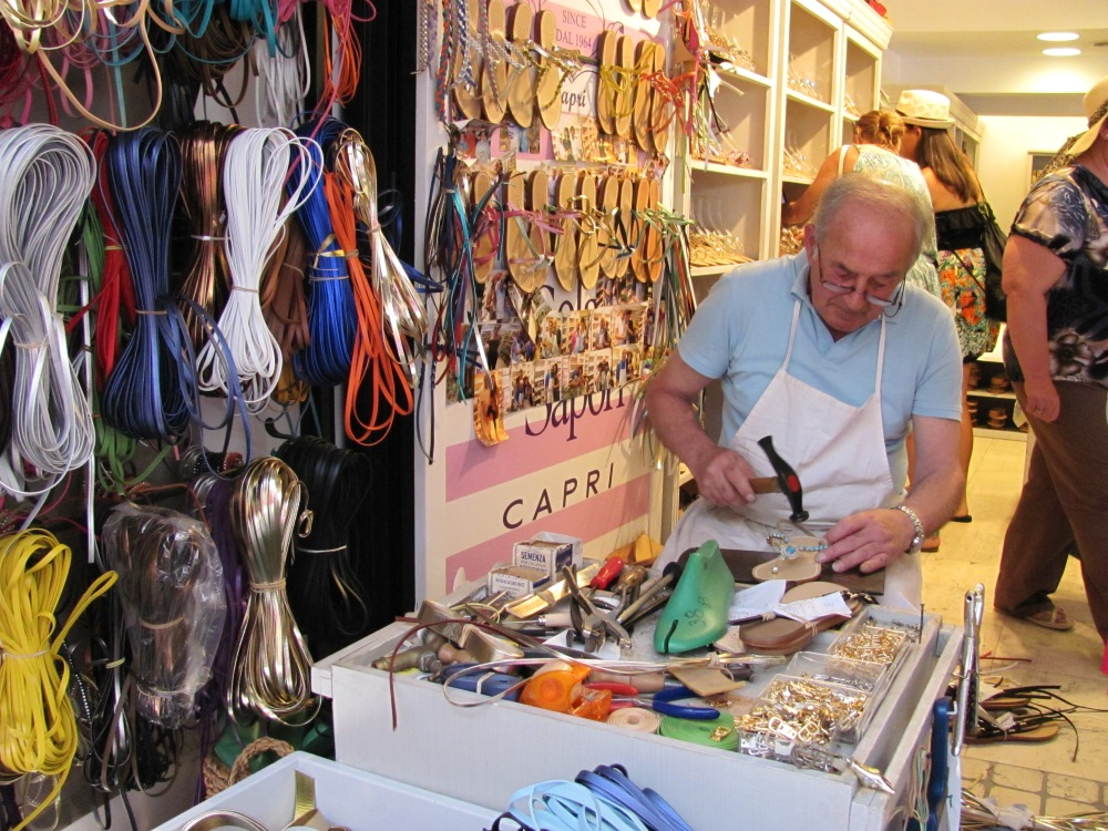 Sandal shop on the island of Capri, Italy by Denise Negrea