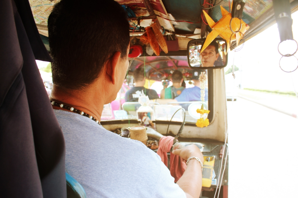 A local navigating us students through the crazy streets of Bangkok, Thailand by Jason O'Brien