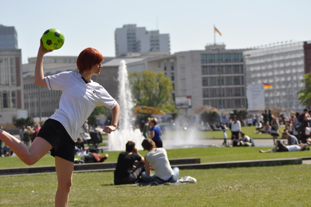 Soccer in the park in front of Altes Museum in Berlin, Germany by Aaron Tardy