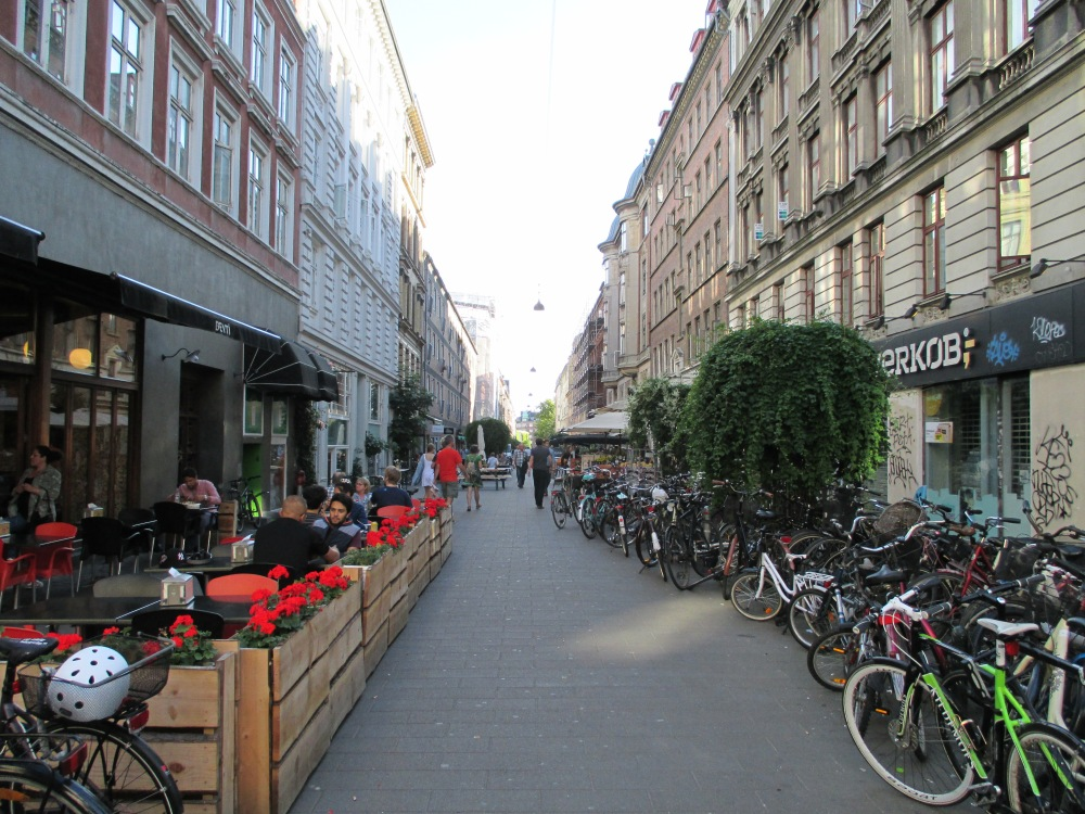 A normal cafe in Copenhagen, where you see a whole lot of cycles.