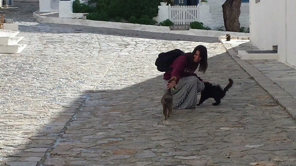 Me petting cats Hydra Island, Greece