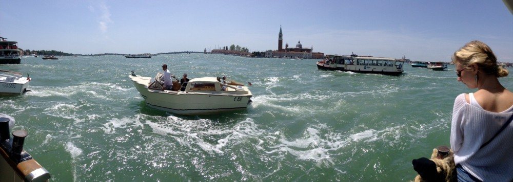 View of Venice from a vaporetto, or waterbus.