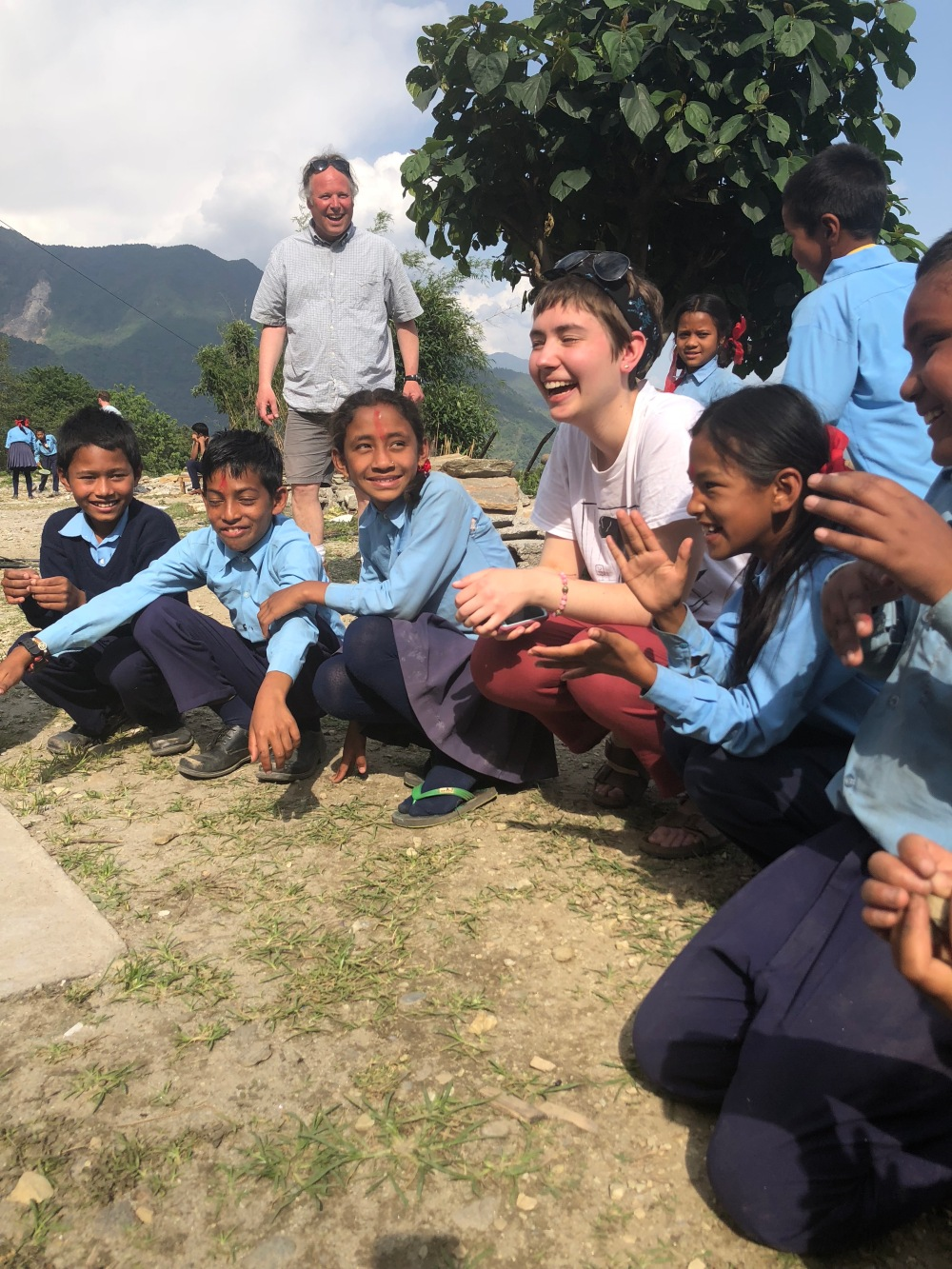 Hannah Schuring with Nepali children at Tiny Seeds School