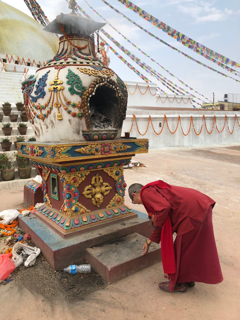 Students visit a number of temples in Kathmandu